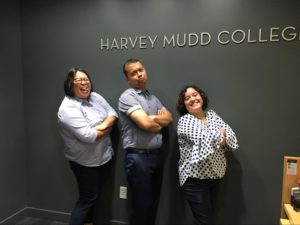 A photograph of Raissa Diamanté, Jason Santiago, and Maureen Ruiz-Sundstrom in the HMC Admissions Office.