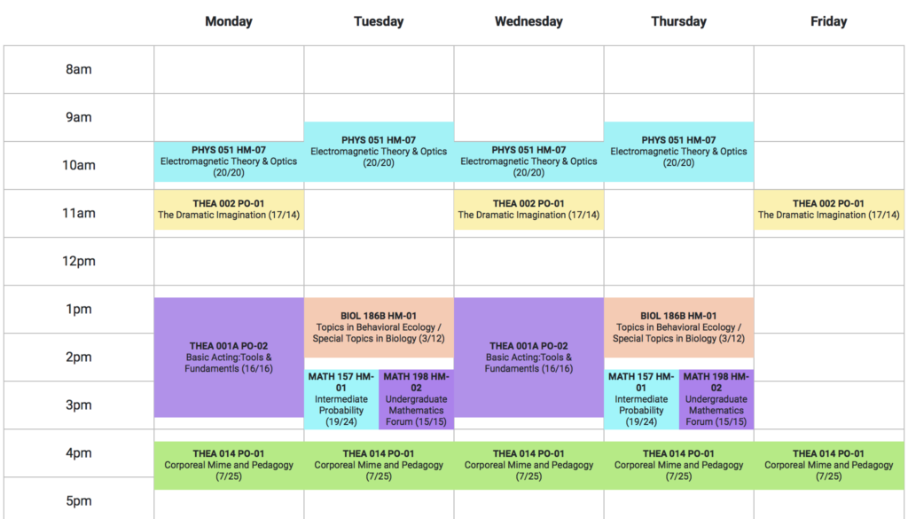 A grid schedule showing 8am-6pm, Monday through Friday. Physics and theater classes are in the late mornings Monday through Friday, and the afternoons are filled with classes in theater, biology, and mathematics.