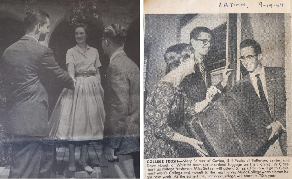 Left: A photo from a 1957 newspaper of a female and a male student shaking hands while David Howell looks on. Right: A photo from a 1957 newspaper with three students holding a suitcase outside of East Dorm