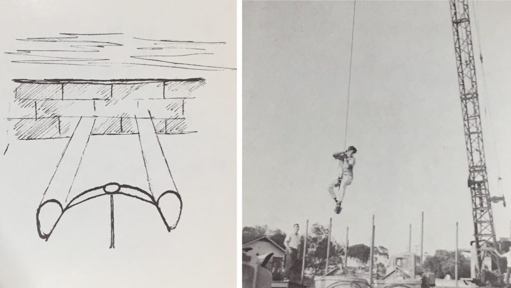 Left: A drawing of a car with its headlights shining onto a brick wall Right: A student hangs from a crane