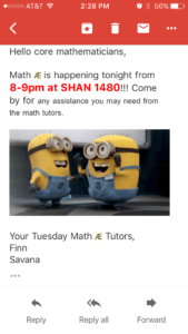 Screenshot of a reminder email from the AE tutors. Features a picture of two excited 'minions' from the 'Despicable Me' movie series (presumably excited about tutoring).