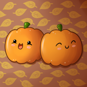 A cartoon of two anthropomorphized, cute pumpkins.