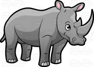 A cartoon drawing of a rhino.