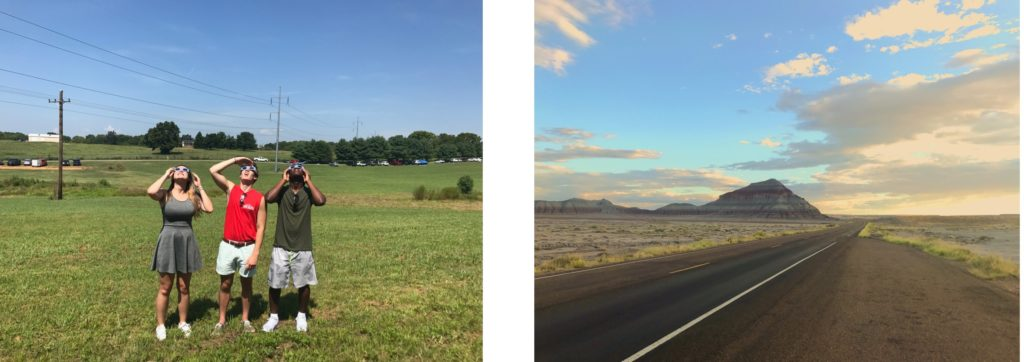 The left photo features the three students Jessica on the left, Will in the middle, and Eric on the right. They're looking up at the sky through glasses that shield their eyes from sun damage so that they can view the eclipse safely. The right photo is a landscape shot of a road with a mountain in the far ground.