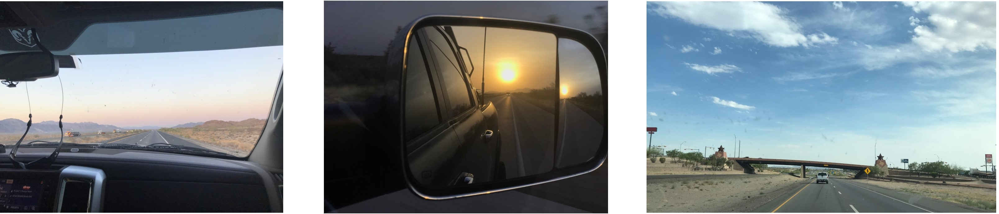 Three photos taken from inside a car on a road trip. The first one features a pastel sunset, the second one features a sun setting in a rear view mirror, and the third one has a blue sky with clouds.