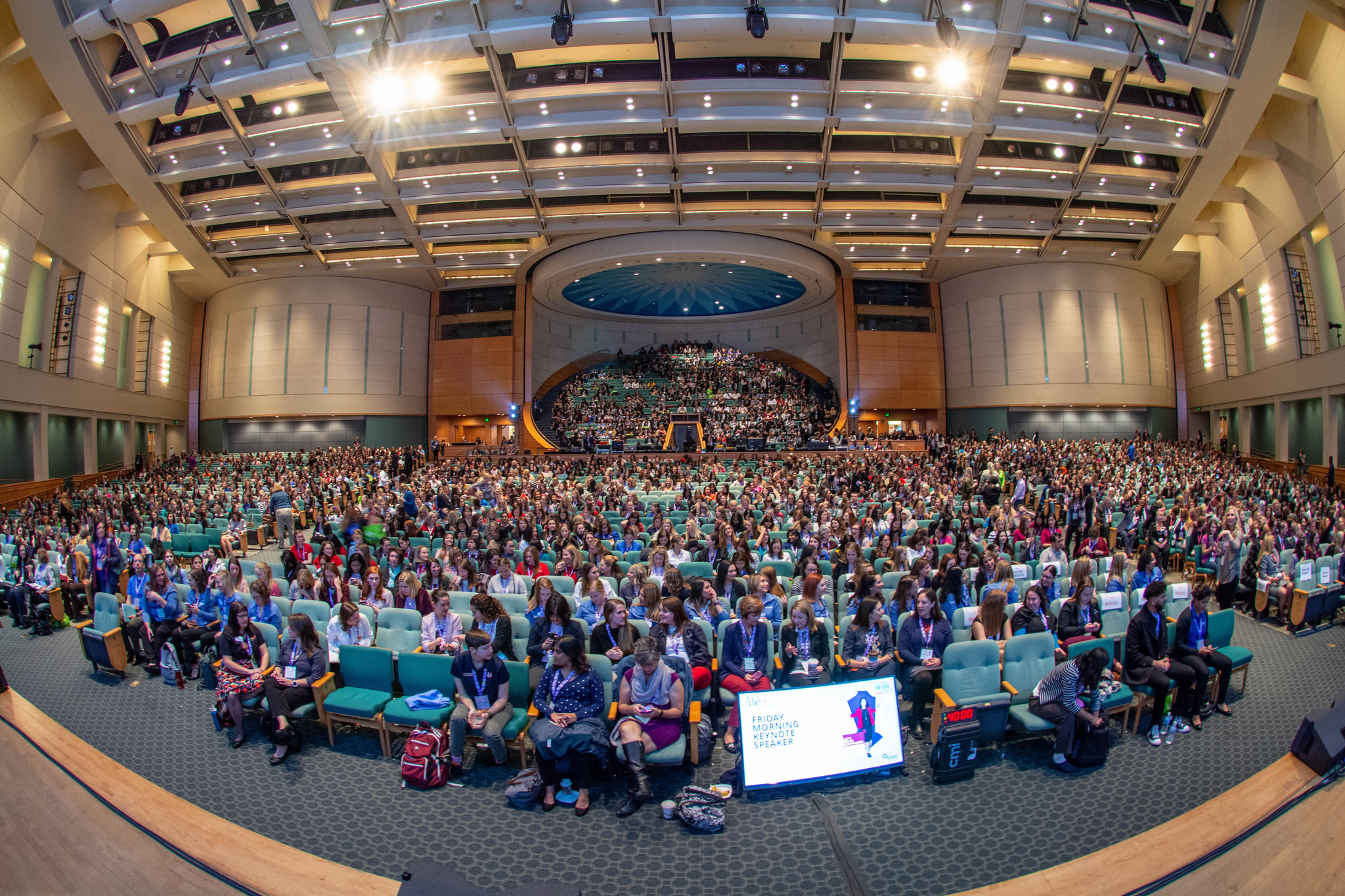 A fish-eye photo of the main auditorium where many of the talks were held at the conference.