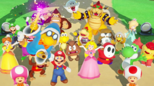 Picture depicts shows all 21 characters from Nintendo's 'Mario Party' videogame. Mario, Luigi, Peach, Bowser among them.