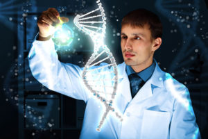 The picture shows a scientist in a lab coat who has a blue orb in their hand and is using it to manipulate a floating hologram of a twisted-ladder DNA model. The picture almost makes science seem magical/mystical.