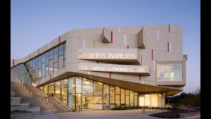 A picture of the Roberts Pavillion at dusk, at about Dusk.