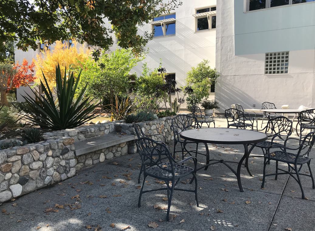 Another picture of the quiet outdoor seating at Pitzer; Lots of plants are next to a bench by the tables