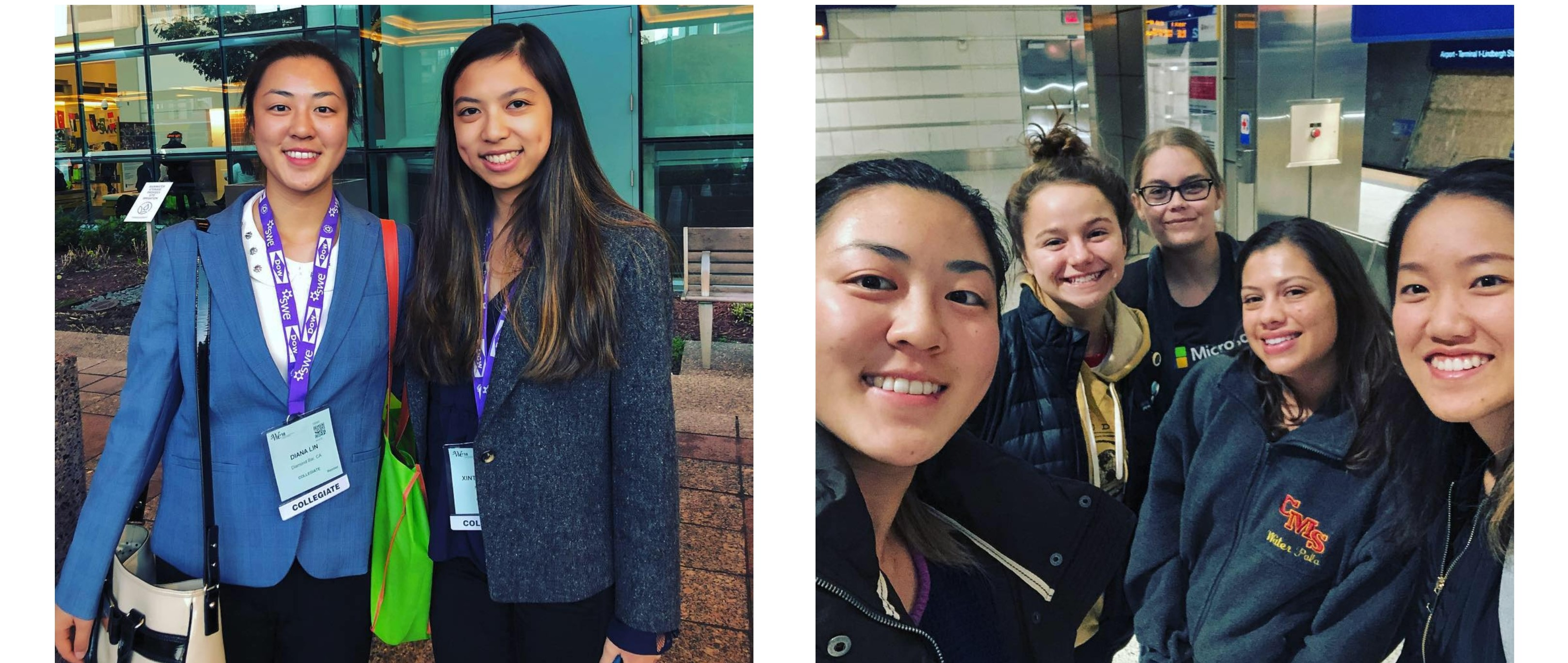 The left photo is of two freshmen posing outside of the convention center. The right photo is of five of our members taking a photo in the airport.