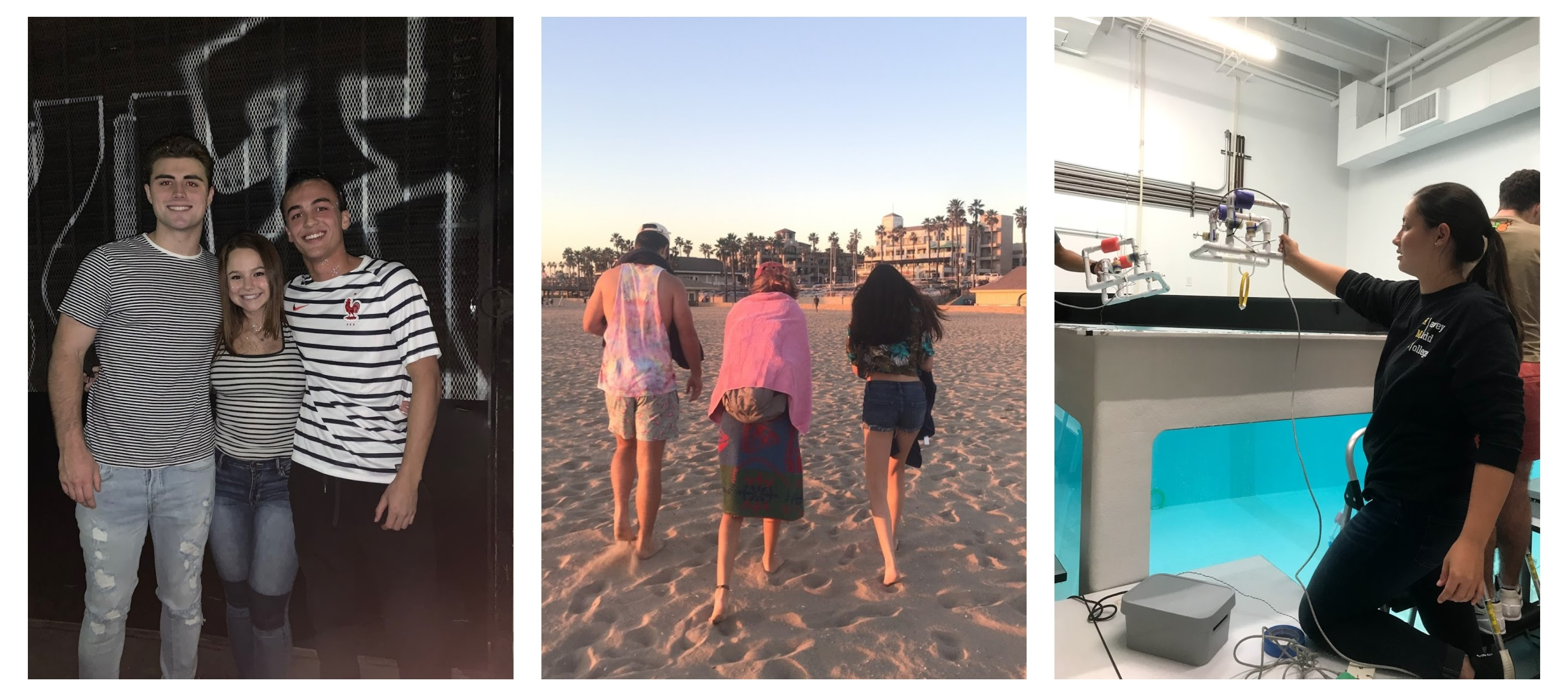 The left photo is of three Mudders in front of a grafitti wall. Middle photo is three people walking on the beach not facing the camera. The right photo is a girl with a PVC robot in front of a tank.