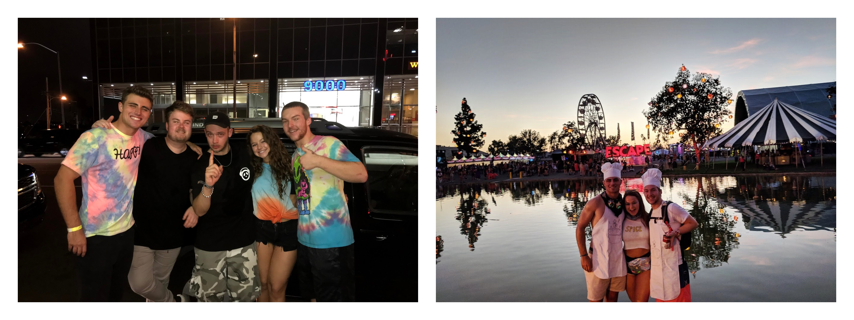 The left photo is three students and two older men who are the DJs from that concert. The right photo is of the same three students at a circus-themed park where a music festival was held.