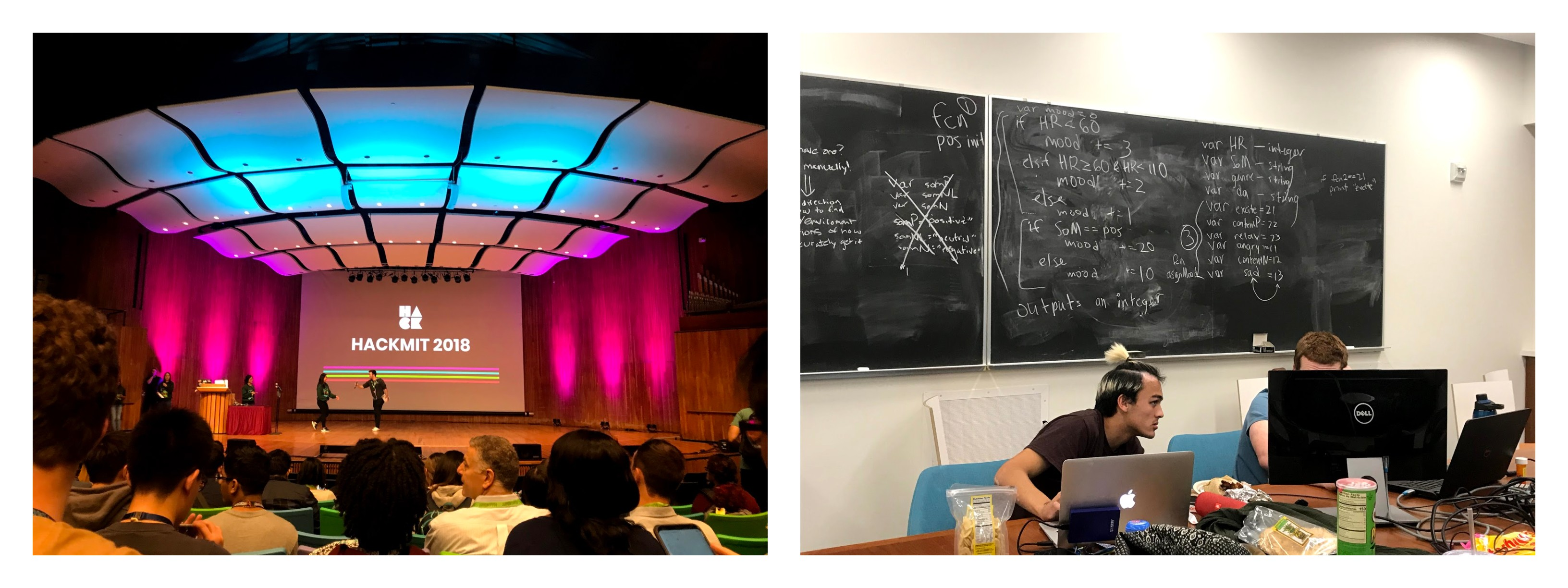 """The left photo is of an auditorium at MIT the welcoming ceremony for the hackathon was held. The screen on stage reads """"HackMIT 2018"""". The right photo is two college students working on computers in a classroom with a bunch of notes written on the chalkboard behind them."""