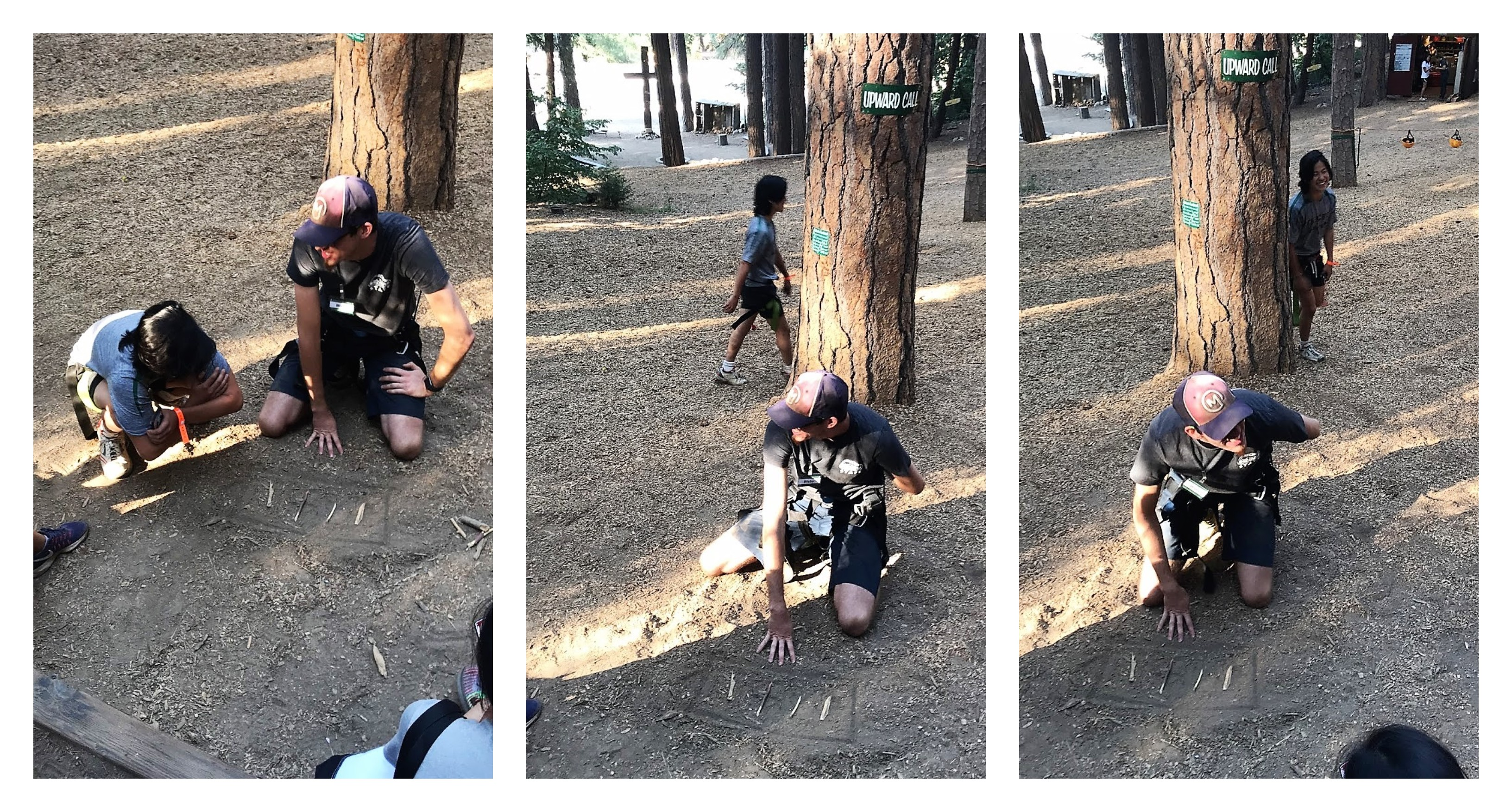 Three photos of a Mudd freshman and a man who works at the ropes course. 63bfc4ab9f