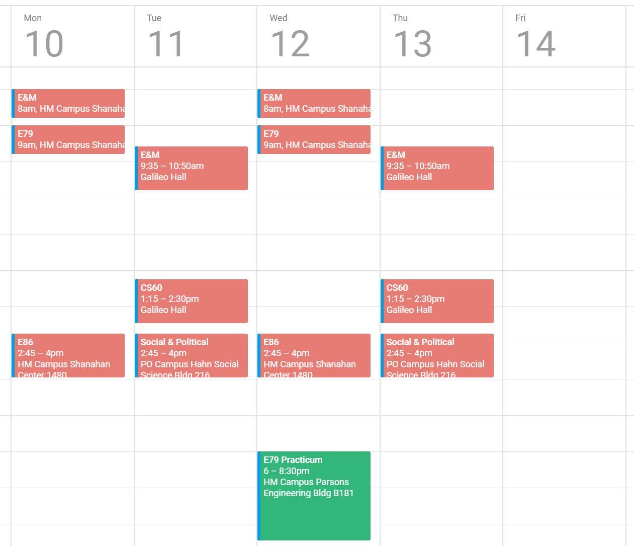 A screenshot of a Google Calendar with between 3-4 blocks on each day  representing 0641ba2d8d