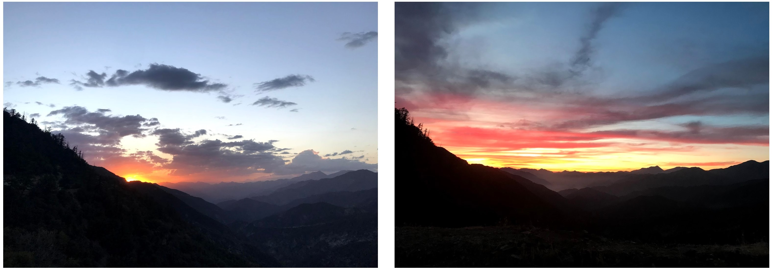 Two photos side by side of a sunset over a mountain range with clouds and an orange glow.