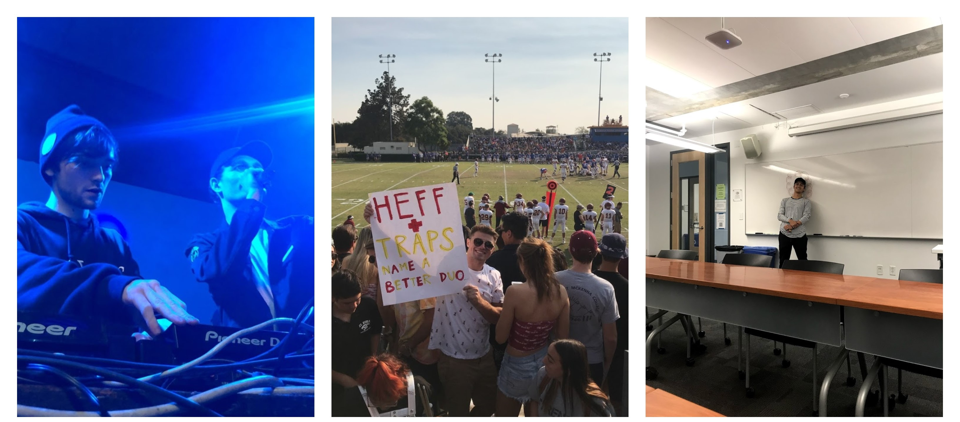 """The left photo is of Louis the Child performing at a concert. The middle photo is Sam holding up a poster at a football game that reads """"Heff+Traps Name a Better Duo"""". The right photo is Danny next to a white board in a Shan classroom."""