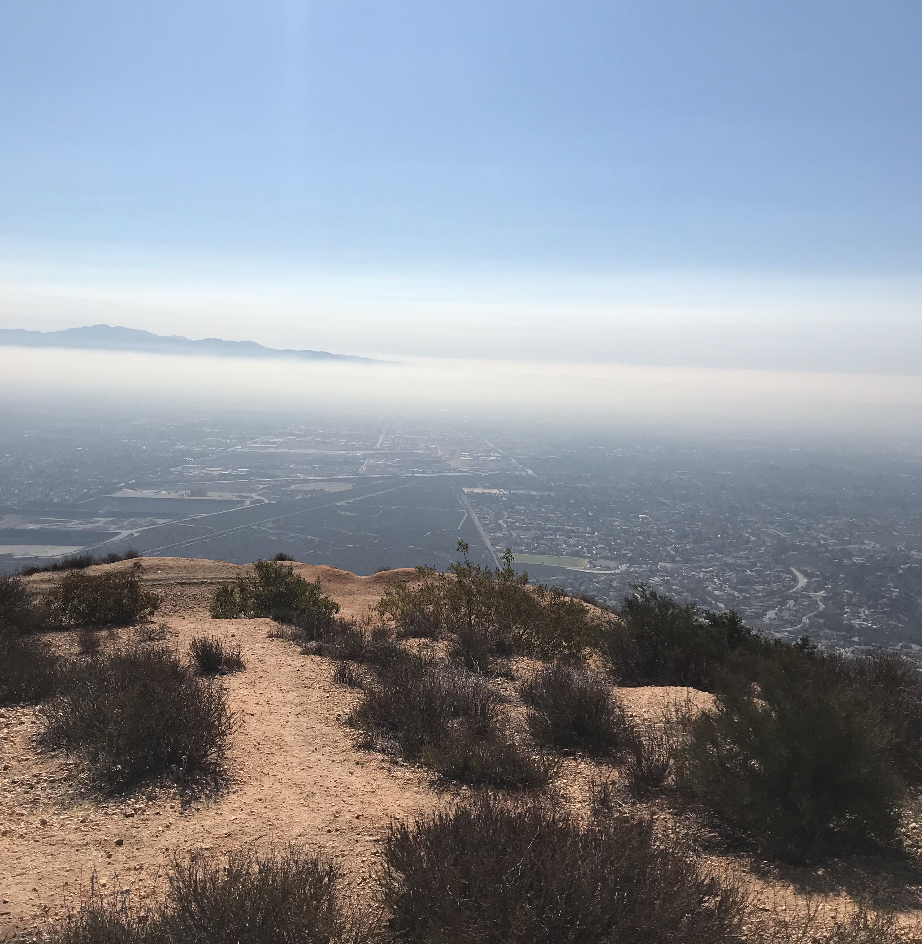 From the top of Potato Mountain, there is a haze that covers Claremont