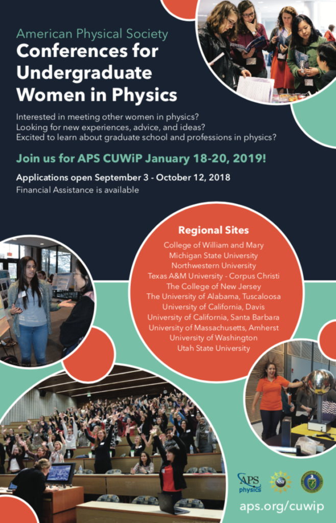 The poster for CUWiP tells the dates of the conference (January 18-20 2019) and includes pictures of women participating in poster sessions and other activities