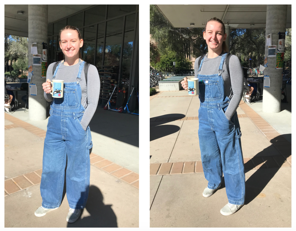 Katie is wearing jean overalls with a gray sweater underneath. She is also holding a whale mug