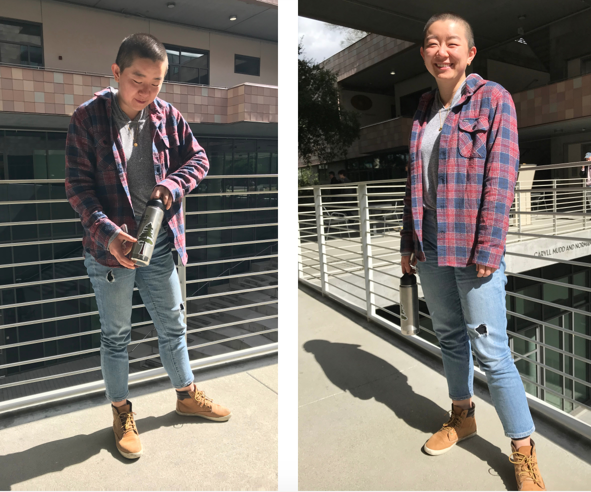 Lin is wearing a gray tshirt under a red and blue plaid flannel. She is also wearing ripped jeans and brown sneakers