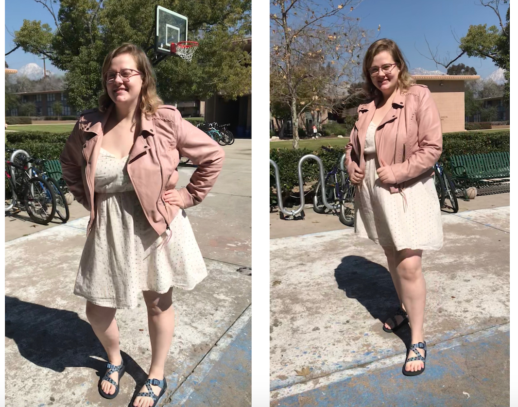 Holly is wearing a light cream colored dress, a pink leather jacket, and chacos