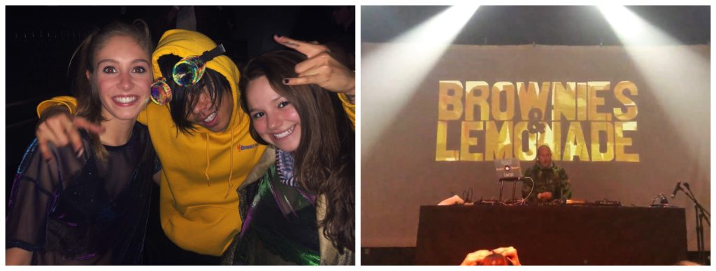 "Left photo of two girls with a music artist and right photo is of a stage reading ""brownies and lemonade""."