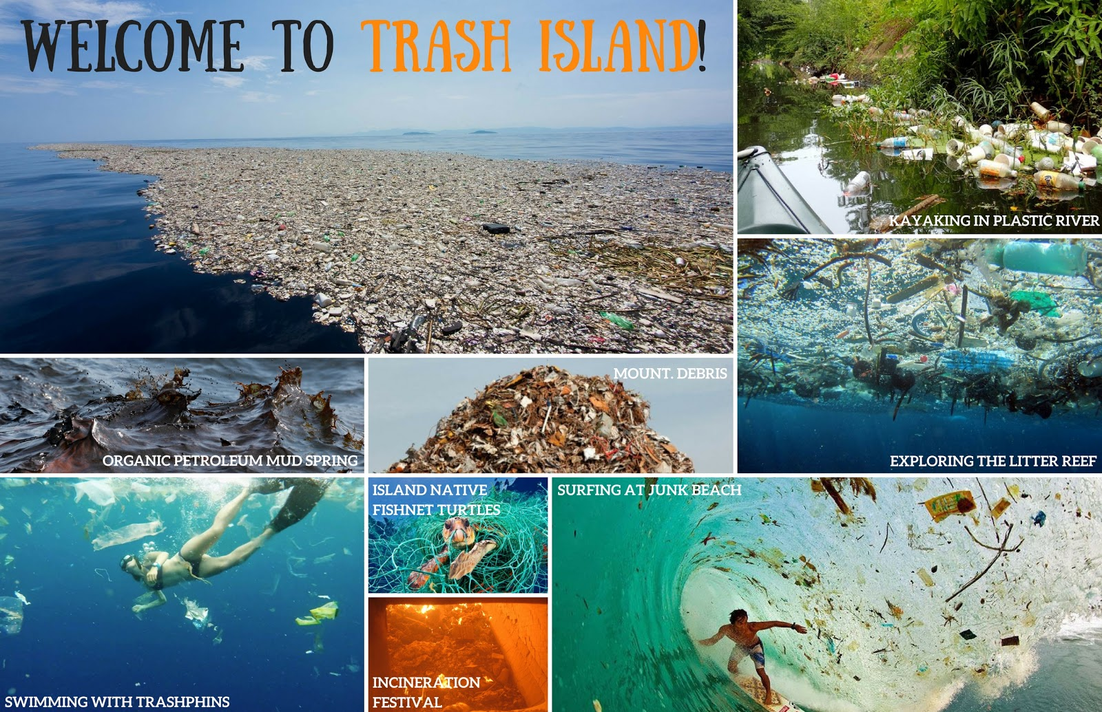 A postcard depicting various fictitious locations, including mount debris, trash island, litter reef, petroleum mud spring, and various events, like kayaking in the plastic river, swimming with trash, the incineration festival and surfing at junk beach.