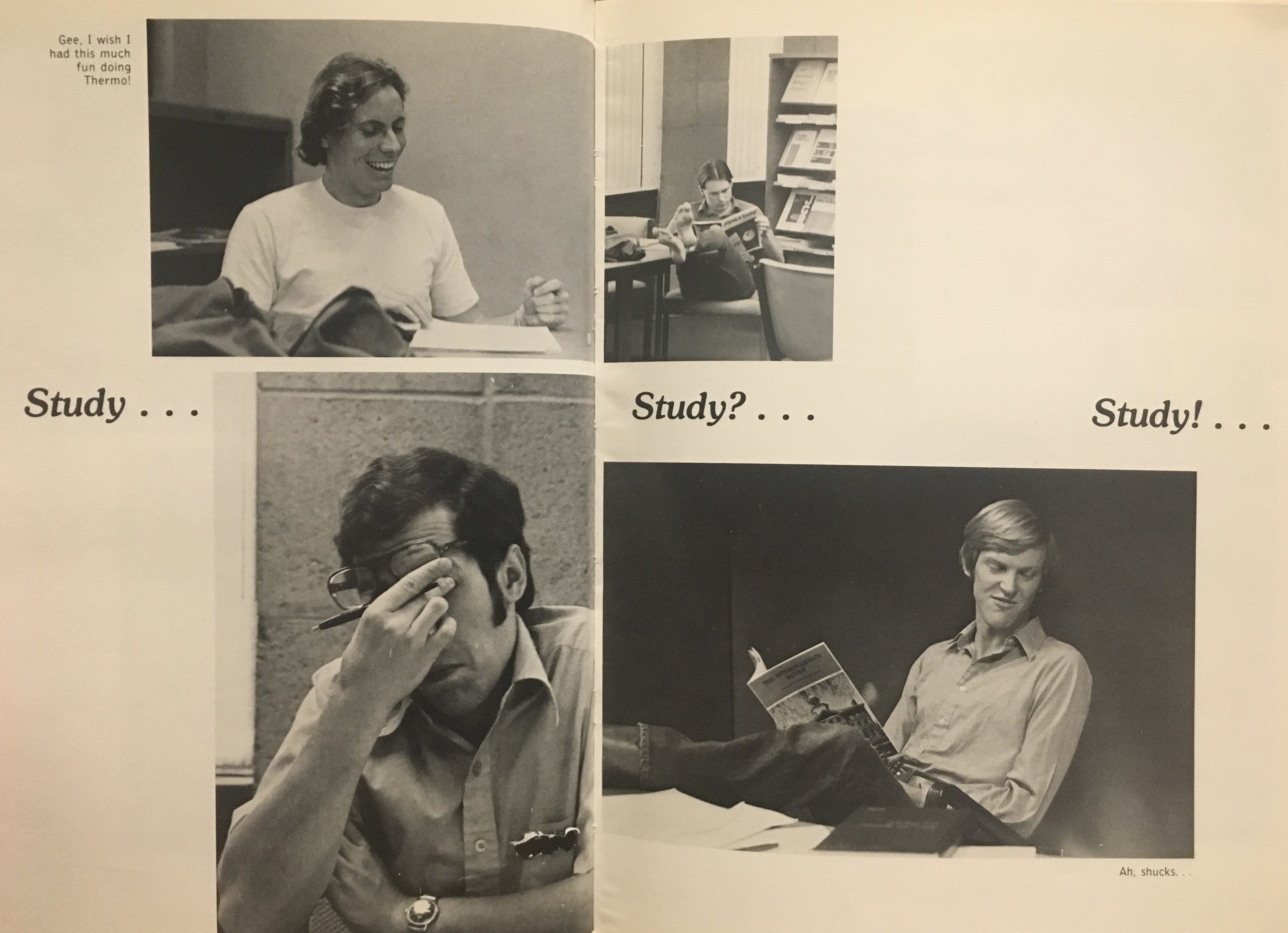 A yearbook page demonstrating the studying done across the class years