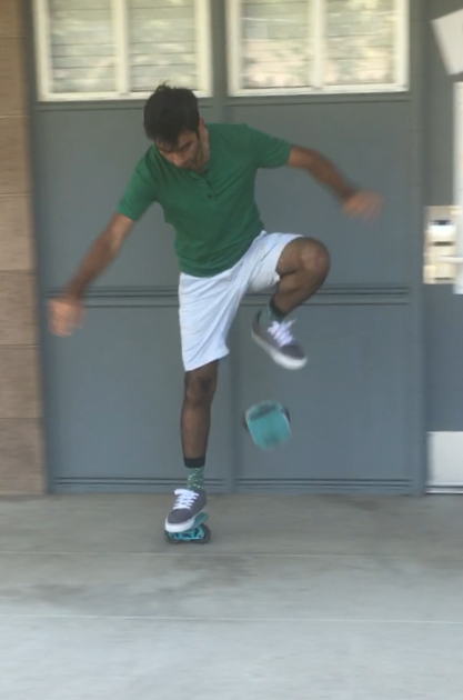 Jawahar Madan, Class of 2021, doing a cool trick on his Freelines in November, 2017