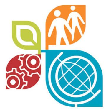 The Hixon Center logo, with various colorful leaves. A green leaf, a red leaf with gears, an orange leaf with people and a blue leaf with a globe.