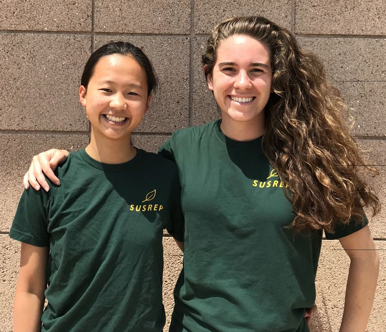 The 2019-2020 Sustainability Directors, Ingrid and Skylar, wearing their Sustainability Director shirts, smiling at the camera