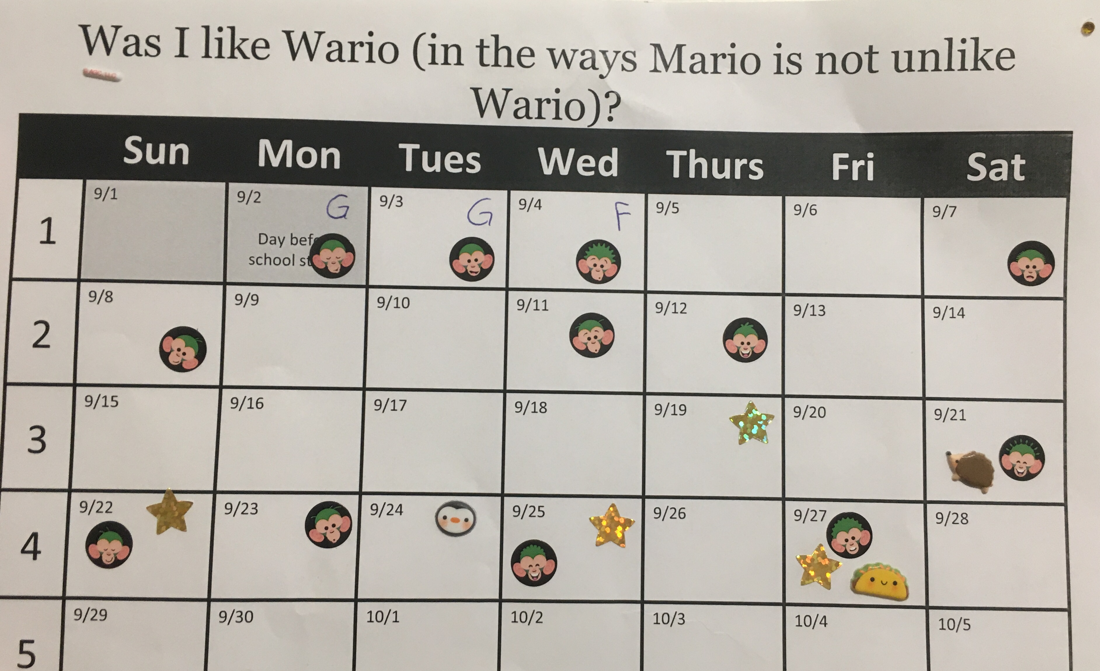 "A copy of Joaquin's calendar, demonstrating his commitment to his goals. The nonsensical title, which has nothing to do with his goals, reads ""Was I like Wario (in the ways Mario is not unlike Wario)?"" For four weeks, Joaquin has averaged about 3 phone calls per week."