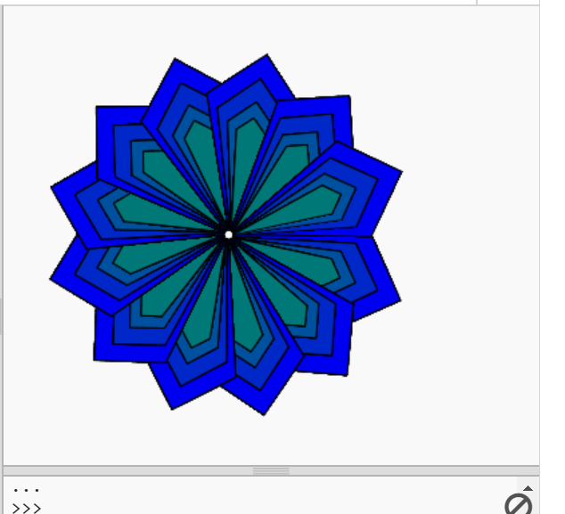 A blue geometric flower.