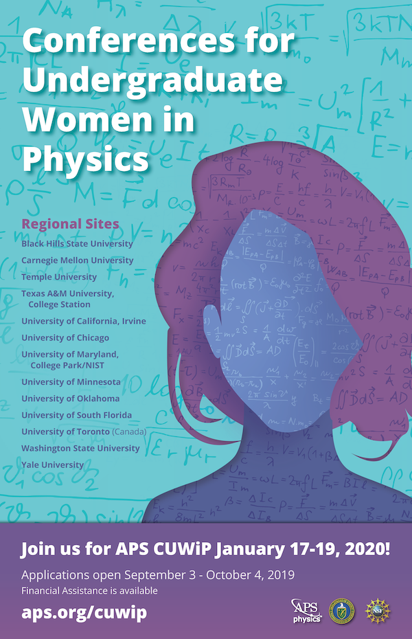 The poster for the Conferences for Undergraduate Women in Physics