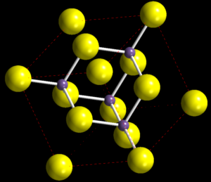 A lattice structure of 14 yellow atoms and 4 purple atoms on a black background