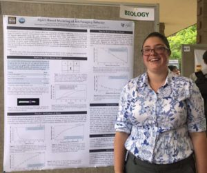I am standing and smiling in front of my summer research poster.