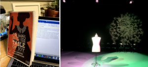 Left: A play program rests against a laptop open to a partially written essay. Right: A dress mannequin sits in an empty room. On the left side of the floor is pink lighting, the right side of the floor is green, and on the back wall is a circle with images of green leaves.