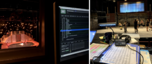 Left: The left side of the photo shows a few actors sitting in a pool of water on stage during rehearsal. The right side of the photo is a closeup of a computer showing a program for theater sound. Right: Actors rehearse on stage in the background of the photo. In the foreground is a desk with headphones and notes on the musical.