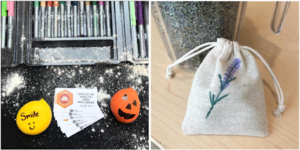 """Left Image: An photo of a flour covered black table with permanent markers near the top, cards labeled """"Office of Health and Wellness Loyalty Card"""", and a yellow stress ball on the left of those cards, and an orange stress ball on the right of the cards. Right: A photo of a small burlap sack with a little lavender flower drawn on it, sitting on a table in front of a large container of dried lavender."""