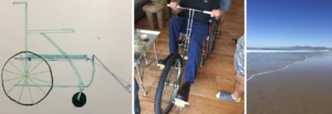Left: A drawing on a whiteboard of a wheelchair with a pedal attachment Middle: The bottom half of a man is visible sitting in a wheelchair. In front of the wheelchair is a wheel with pedals attached on either side. The man is also holding on to handles attached to the front of the wheelchair. Right: An empty shore of the Pacific Ocean.