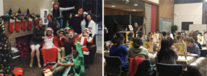 Left: Dean Chris, Dean Evetth, Prof. Yong, Kailee, and several other Muchachos dressed up in Christmas costumes in front of a fake fireplace with wacky poses. Right: Dean Chris speaks into a microphone while a room full of students at tables with easels paint orange and yellow fox pictures.