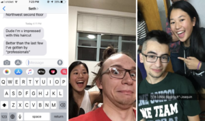 """Left: A screenshot of a texts from Seth saying """"Dude I'm v impressed with this haircut"""" and """"Better than the last few I've gotten by 'professionals'"""". Middle: Andrés has his hair tied up and looks scared, while I am behind him smiling and holding up open scissors. Right: Joaquín and I smile while I point at his mohawk. The photo says """"'I'm kinda digging it' - Joaquin""""."""