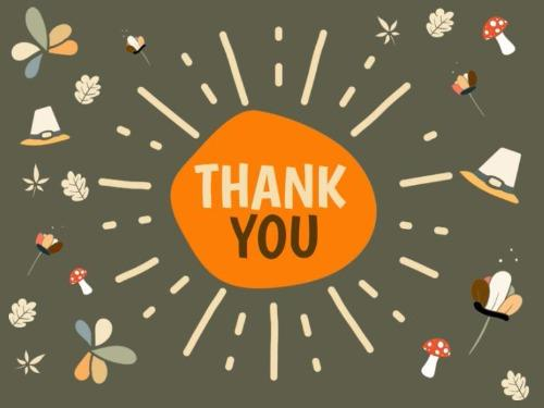 """Cartoon Graphic with the phrase """"Thank you!"""" in the middle, surrounded by various thanksgiving-themed items."""