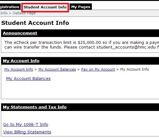 Click on student account info tab.