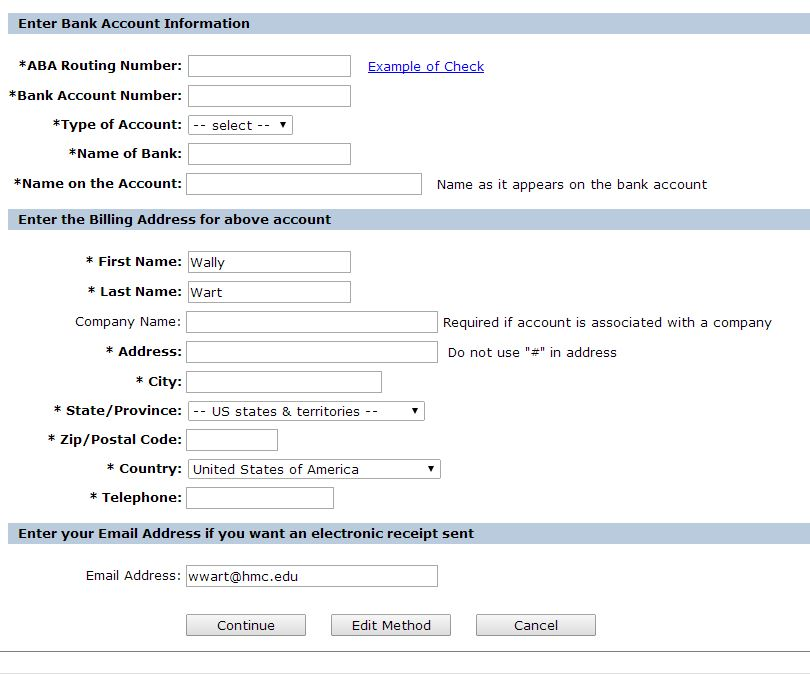 Enter checking sccount and billing info.
