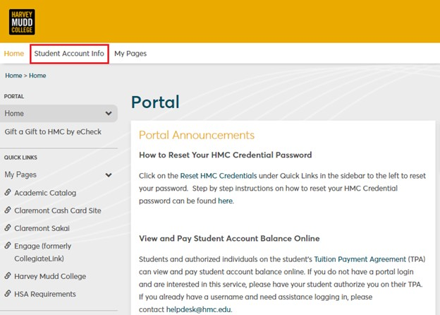 eCheck parent payment process step 5 - Select Student Account Info Tab