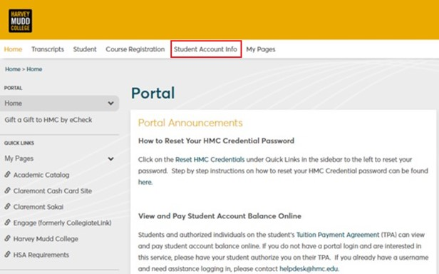 eCheck payment process step 5 - Select Student Account Info Tab