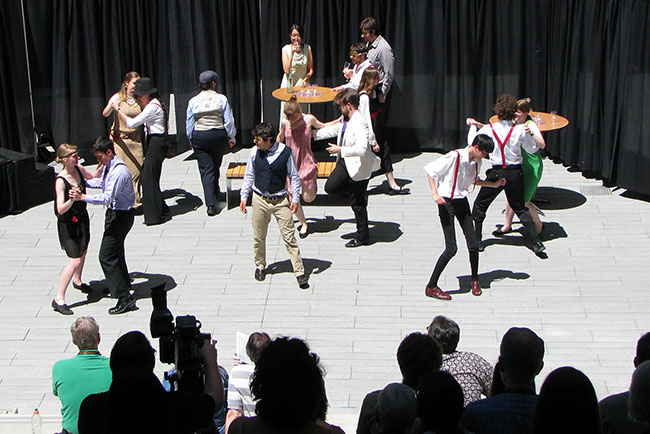 Actors performing a Shakespeare play at Harvey Mudd College